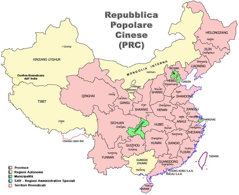 Le macro-regioni della c i n a ( wikipedia modificato )
